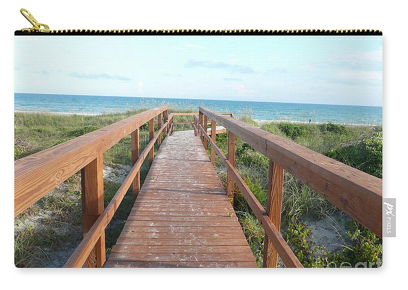 Boardwalk Carry-all Pouch featuring the photograph Nc Beach Boardwalk by Barb Montanye Meseroll