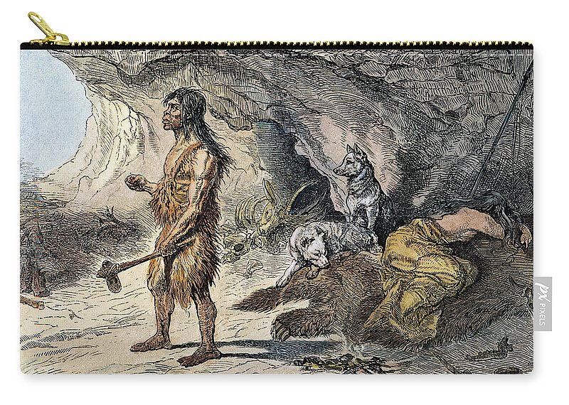 1873 Carry-all Pouch featuring the photograph Neanderthal Man by Granger