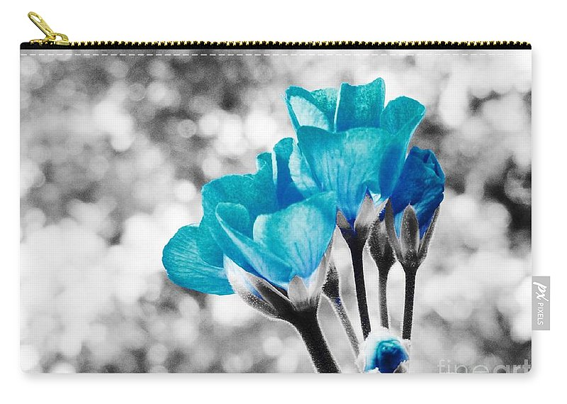 Blue Carry-all Pouch featuring the photograph Near Bloom Blue by Johari Smith