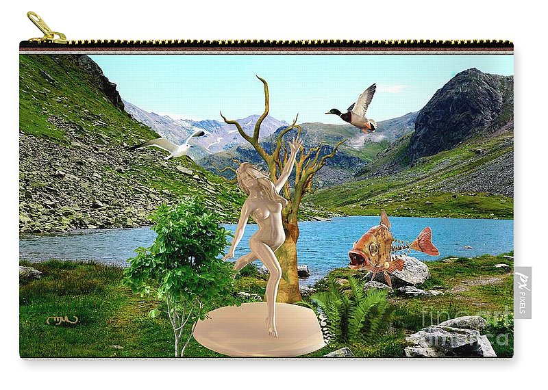 Modern Painting Carry-all Pouch featuring the mixed media Near The Lake26 by Pemaro