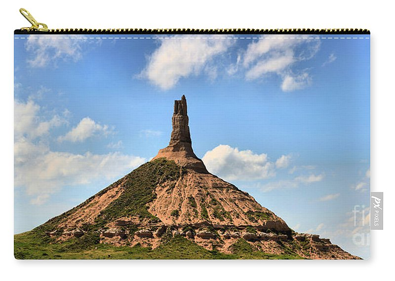 Scotts Bluff Chimney Rock Carry-all Pouch featuring the photograph Nebraska Chimney Rock Panorama by Adam Jewell