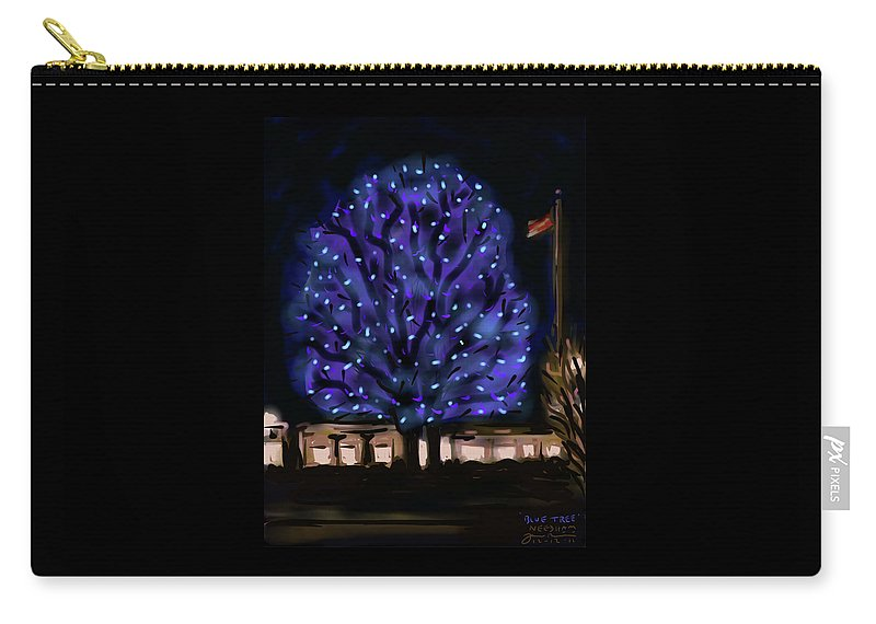 Needham Carry-all Pouch featuring the painting Needham's Blue Tree by Jean Pacheco Ravinski