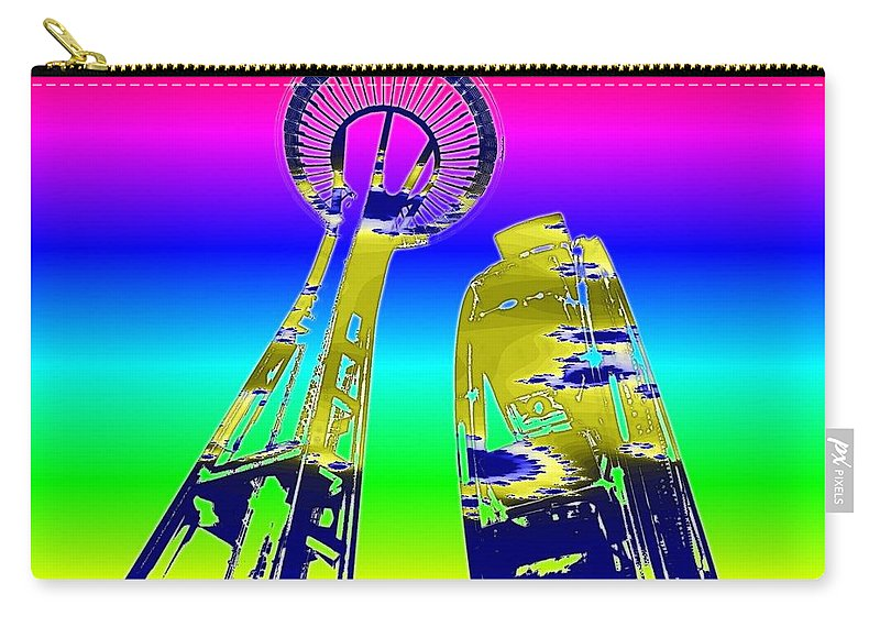Seattle Carry-all Pouch featuring the digital art Needle And Ferris Wheel Fractal by Tim Allen