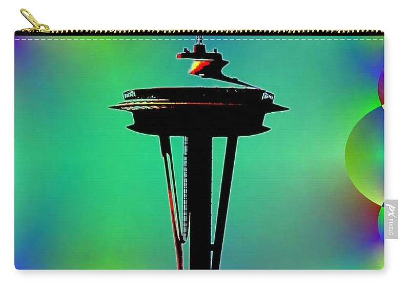 Seattle Carry-all Pouch featuring the digital art Needle In Fractal 3 by Tim Allen