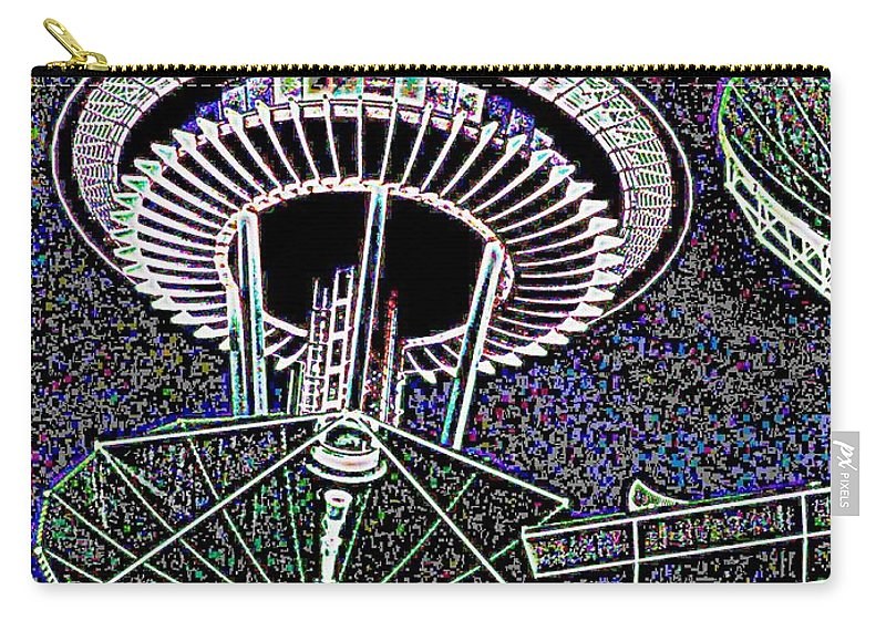 Seattle Carry-all Pouch featuring the digital art Needle Over Fisher Plaza by Tim Allen