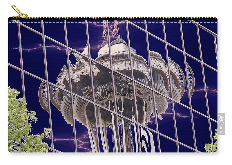 Seattle Carry-all Pouch featuring the digital art Needle Reflection by Tim Allen