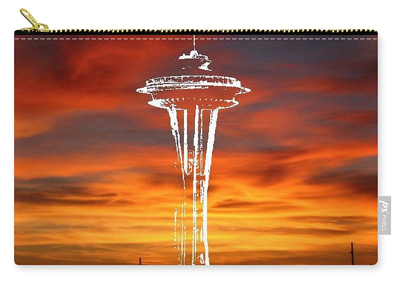 Seattle Carry-all Pouch featuring the digital art Needle Silhouette by Tim Allen