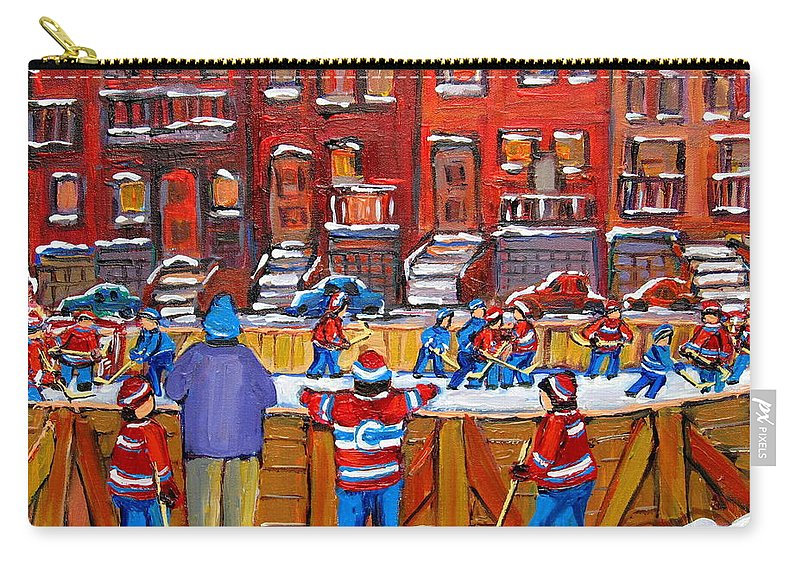 Hockeygame At The Neighborhood Rink Carry-all Pouch featuring the painting Neighborhood Hockey Rink by Carole Spandau