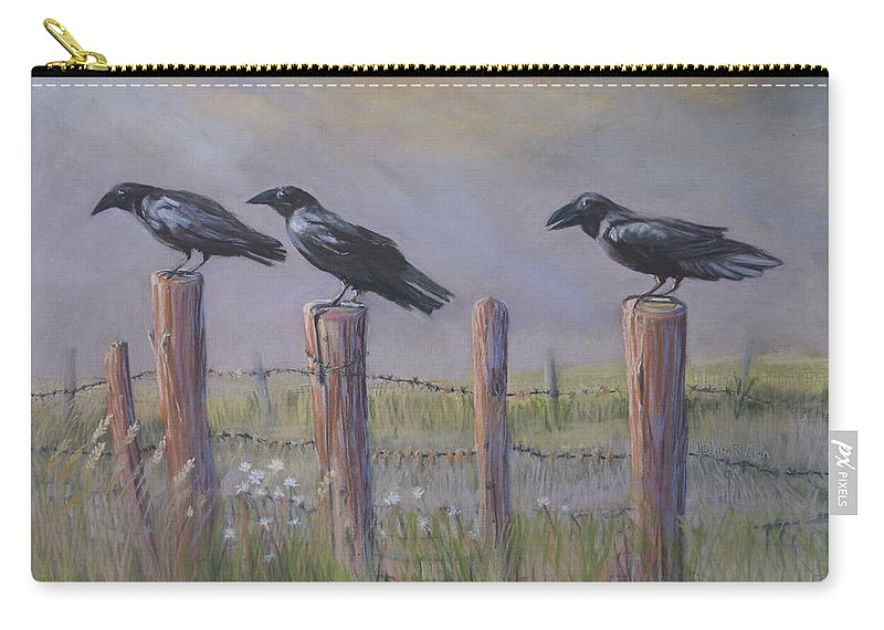 Crows Carry-all Pouch featuring the painting Neighborhood Watch by Heather Coen