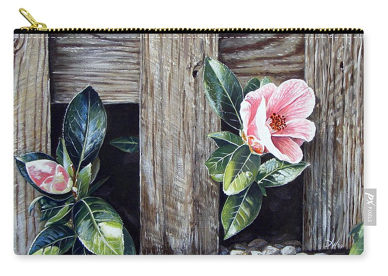 Flower Pink Acrylics Neighbours Fence Wood Leaves Carry-all Pouch featuring the painting Neighbours by Arie Van der Wijst