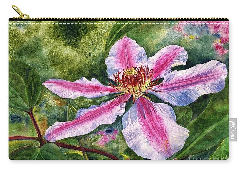 Cynthia Pride Watercolor Paintings Carry-all Pouch featuring the painting Nelly Moser Clematis by Cynthia Pride