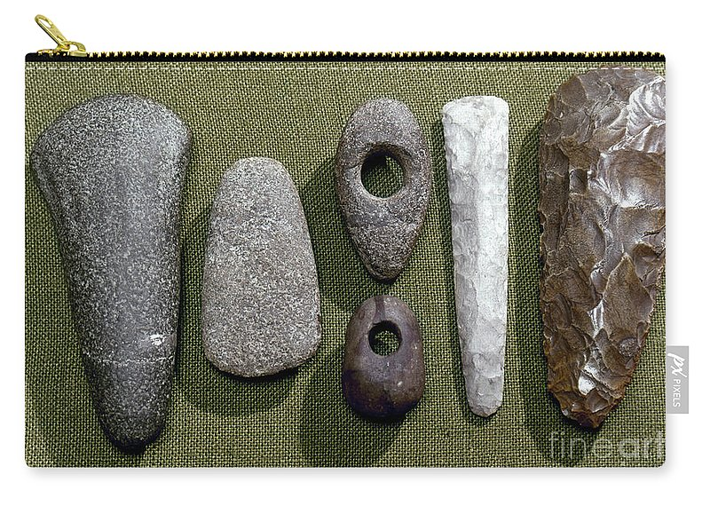 1800 B. C. Carry-all Pouch featuring the photograph Neolithic Tools by Granger