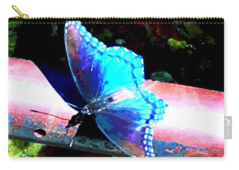 Neon Carry-all Pouch featuring the digital art Neon Butterfly by JD Poplin