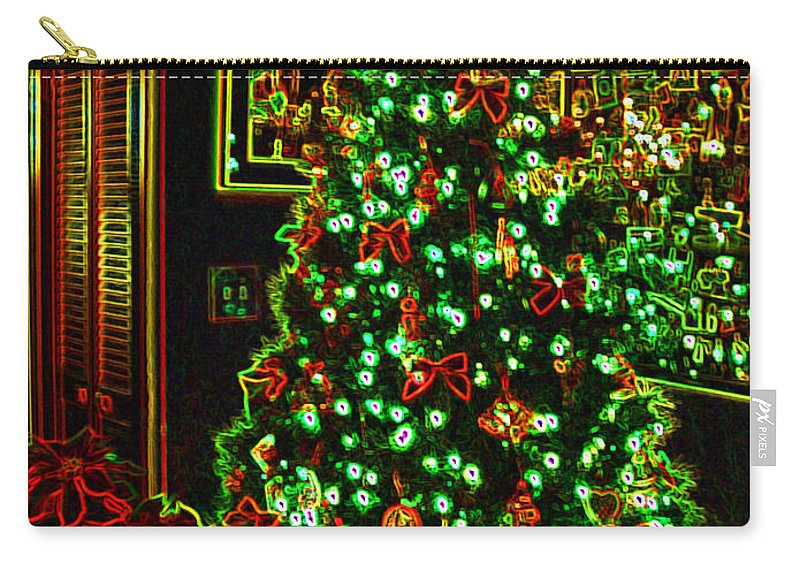 Christmas Carry-all Pouch featuring the photograph Neon Christmas Tree by Nancy Mueller
