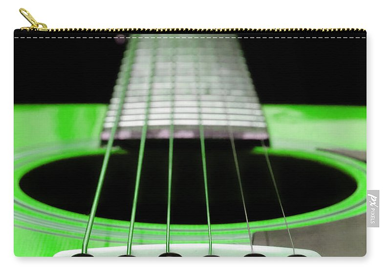 Andee Design Guitar Carry-all Pouch featuring the photograph Neon Green Guitar 18 by Andee Design