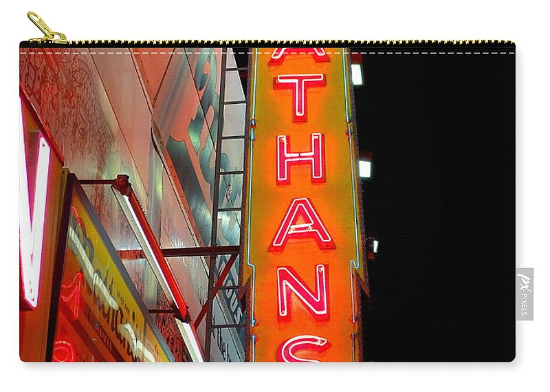 Nathans Hot Dogs Carry-all Pouch featuring the photograph Neon Nathans by Ed Weidman