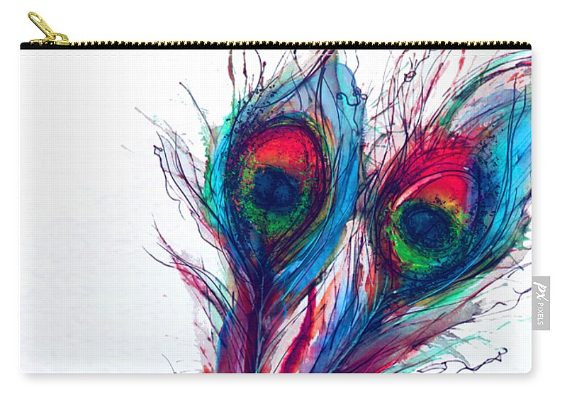 Peacock Carry-all Pouch featuring the painting Neon Peacock by Tiffany Hunter