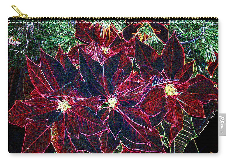 Flowers Carry-all Pouch featuring the photograph Neon Poinsettias by Nancy Mueller