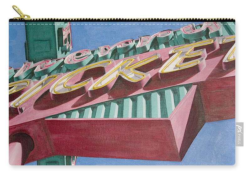 Oil Carry-all Pouch featuring the painting Neon Sign Cherry Cricket by Rob De Vries