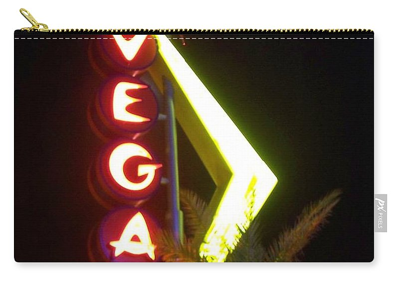 Fremont East Carry-all Pouch featuring the photograph Neon Signs 2 by Anita Burgermeister