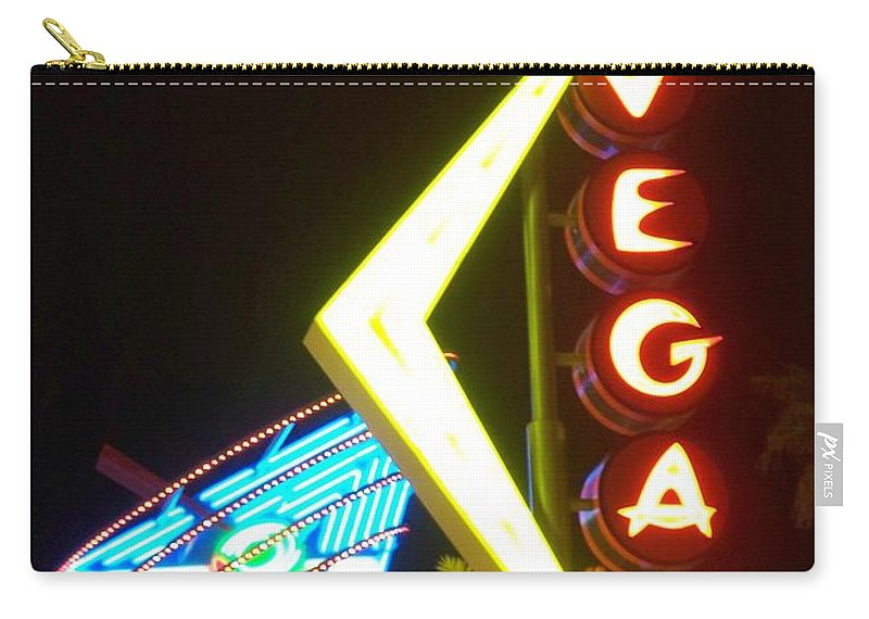 Fremont East Carry-all Pouch featuring the photograph Neon Signs 3 by Anita Burgermeister