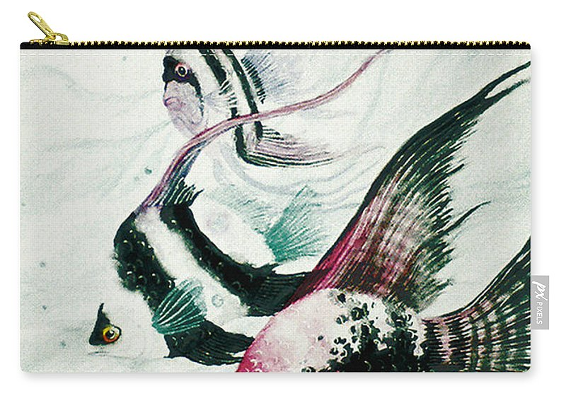 Fish Carry-all Pouch featuring the painting Neptunes Trio by Stephen Lucas