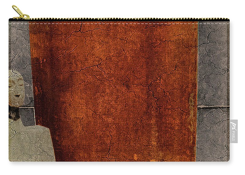 Nature Carry-all Pouch featuring the digital art Nero Rustic Sculpture Wall by Mona Stut