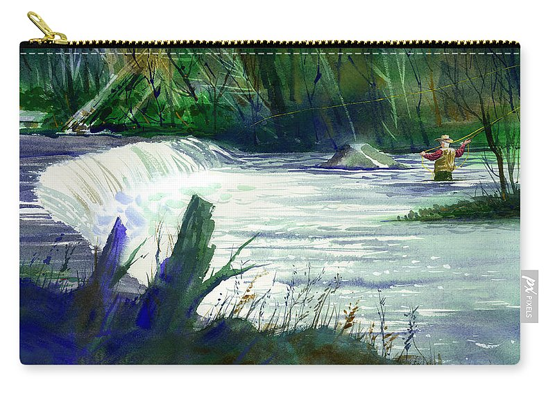 Neshannock Creek Carry-all Pouch featuring the painting Neshannock Sunday by Lee Klingenberg