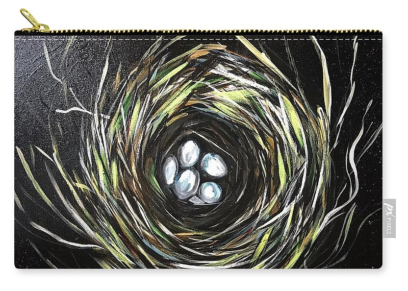 Birds Nest Carry-all Pouch featuring the painting Nesting by Diane Steinbach