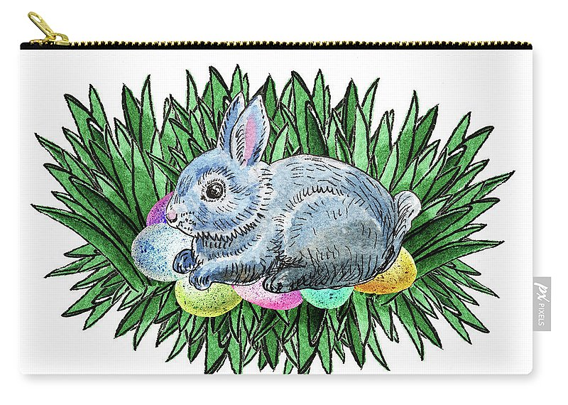 Easter Carry-all Pouch featuring the painting Nesting Easter Bunny by Irina Sztukowski