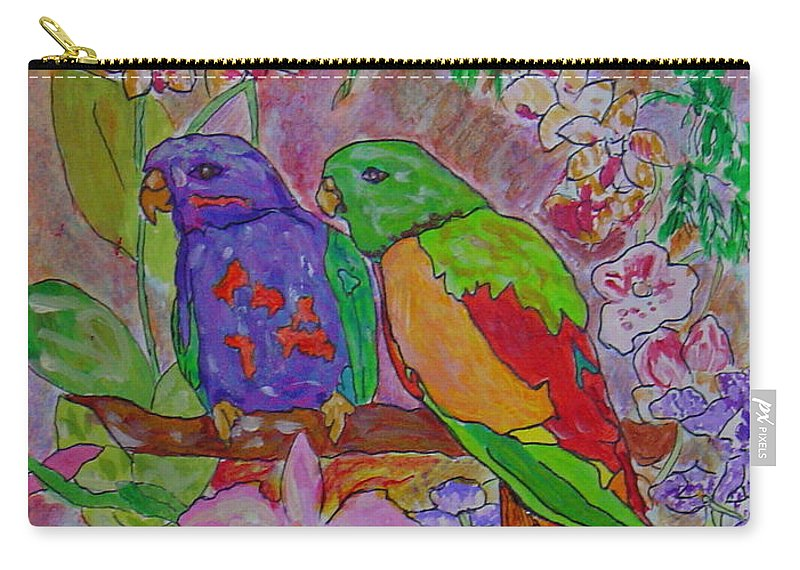 Tropical Pair Birds Parrots Original Illustration Leilaatkinson Carry-all Pouch featuring the painting Nesting by Leila Atkinson