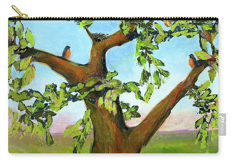 Robins Carry-all Pouch featuring the painting Nesting Tree by Blenda Studio