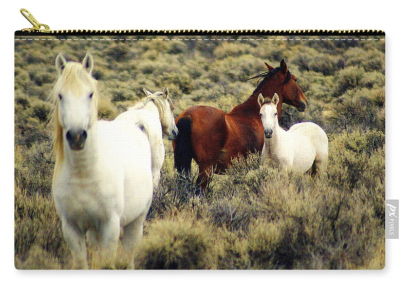 Horses Carry-all Pouch featuring the photograph Nevada Wild Horses by Marty Koch