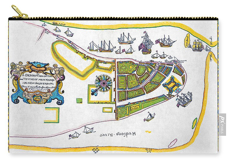 1661 Carry-all Pouch featuring the photograph New Amsterdam Map, 1661 by Granger