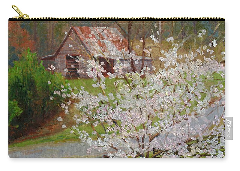 Landscape Carry-all Pouch featuring the painting New Blossoms Old Barn by Keith Burgess
