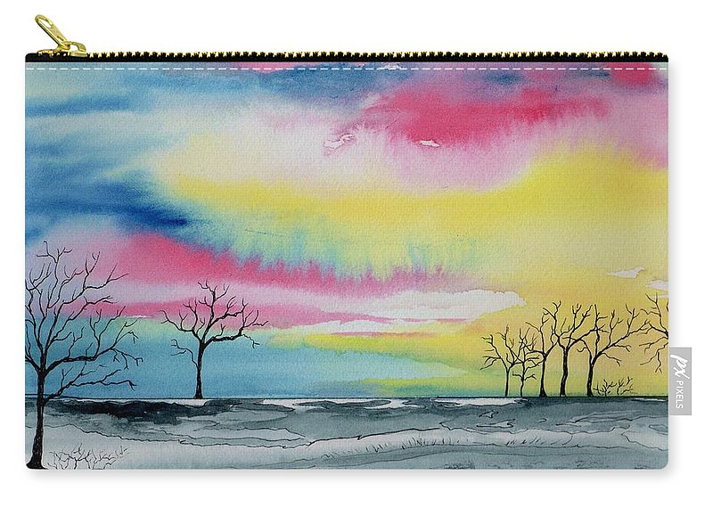 Watercolor Carry-all Pouch featuring the painting New Day Dawn by Brenda Owen