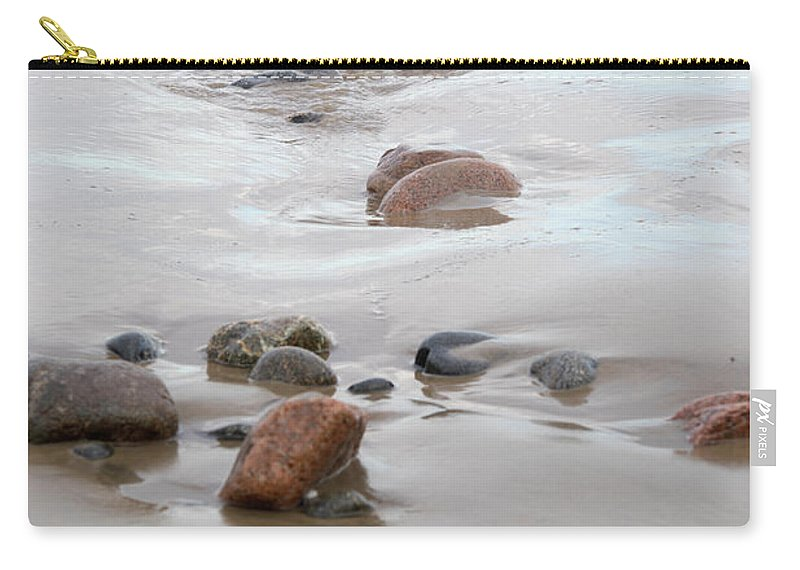 New England Carry-all Pouch featuring the photograph New England Beach With Rocks And Waves by Michelle Himes