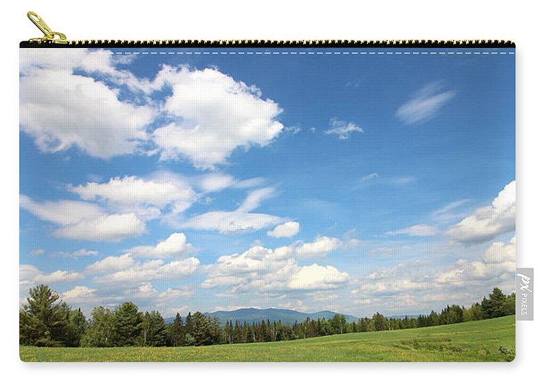 Mountain And Sky Carry-all Pouch featuring the photograph New Hampshire Farm Meadow by Neal Eslinger