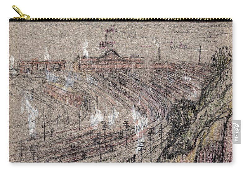 1909 Carry-all Pouch featuring the drawing New Jersey, Weehawken. by Granger