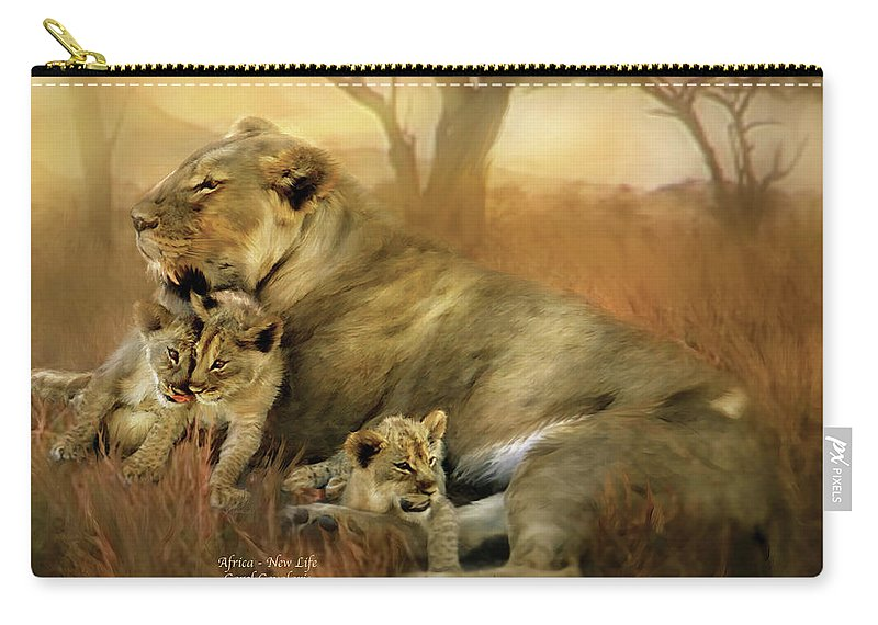 Carol Cavalaris Carry-all Pouch featuring the mixed media New Life by Carol Cavalaris