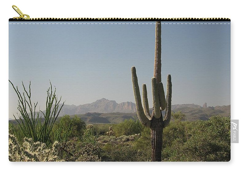 Cactus Carry-all Pouch featuring the photograph New Mexican Desert by Mary Ellen Mueller Legault