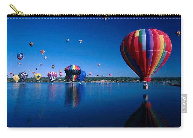 Hot Air Balloon Carry-all Pouch featuring the photograph New Mexico Hot Air Balloons by Jerry McElroy