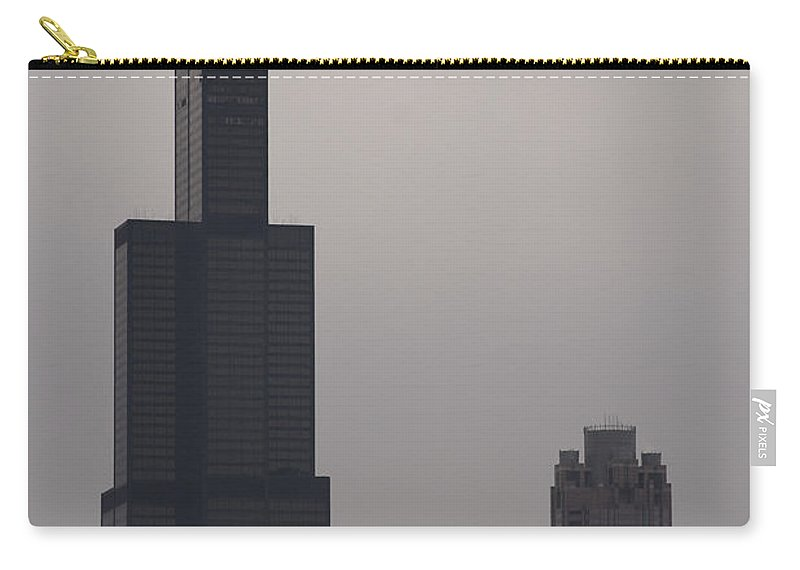 Chicago Windy City Sears Willis Tower Building High Tall Skyscraper Urban Metro Tourist Attraction Carry-all Pouch featuring the photograph New Name by Andrei Shliakhau