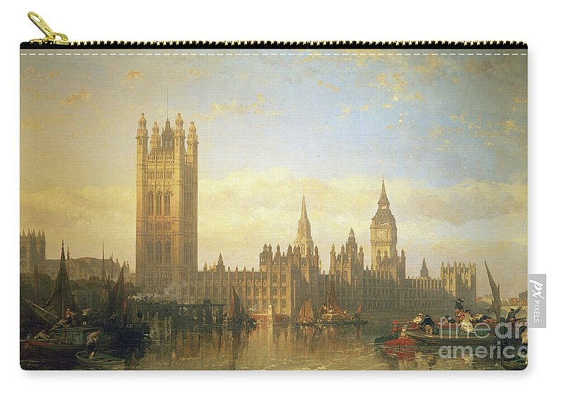 Big Ben Carry-all Pouch featuring the painting New Palace Of Westminster From The River Thames by David Roberts