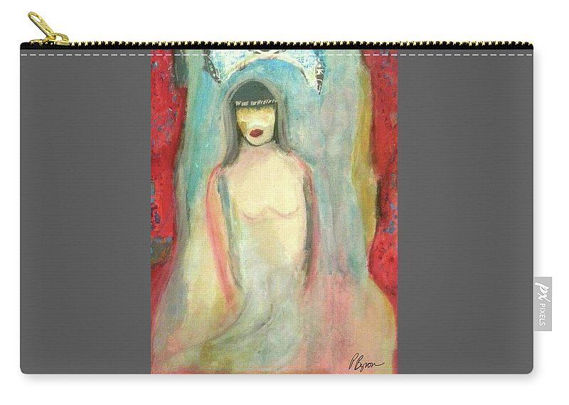 Red Carry-all Pouch featuring the painting Unveiled by Patricia Byron