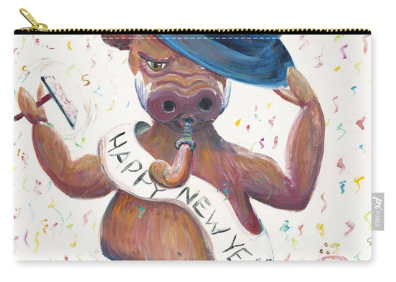 Hog Carry-all Pouch featuring the painting New Years Hog by Nadine Rippelmeyer