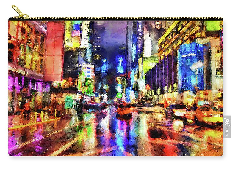 New York City Carry-all Pouch featuring the painting New York At Night - 14 by Andrea Mazzocchetti