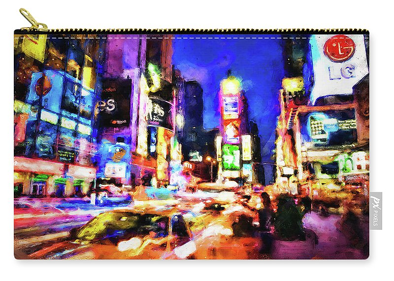 New York City Carry-all Pouch featuring the painting New York At Night - 15 by Andrea Mazzocchetti
