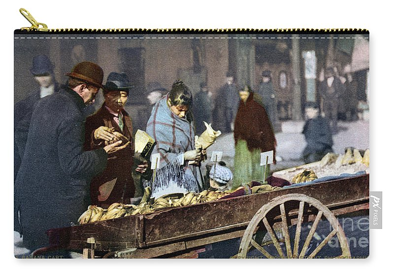 1900 Carry-all Pouch featuring the photograph New York: Banana Cart by Granger