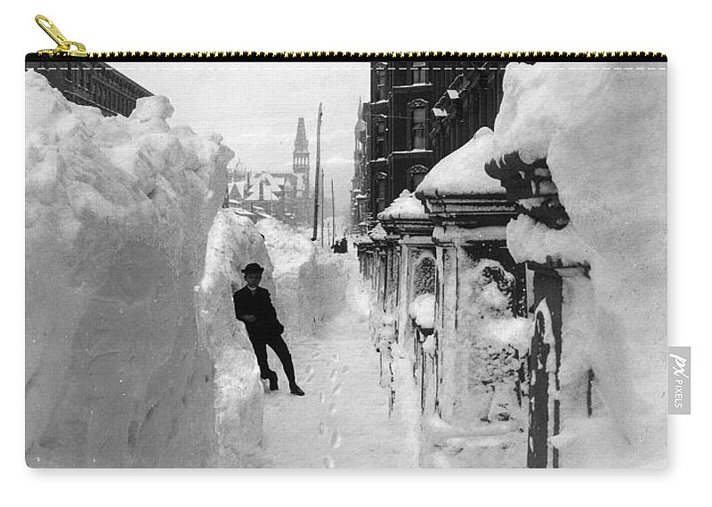 1888 Carry-all Pouch featuring the photograph New York: Blizzard Of 1888 by Granger